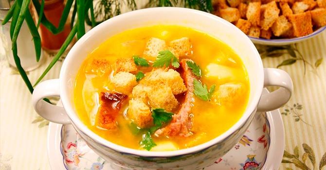 1-22 Суп с копчёной курицей и плавленным сыром