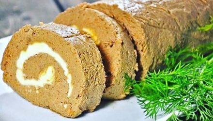 Печёночный рулет с сырной начинкой