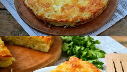 Запеканка из тертого картофеля с сыром и чесноком.